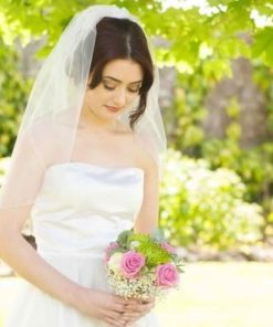 waist length veil with embellishments