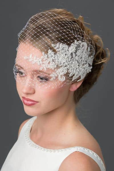 visor veil with lace applique and pearls