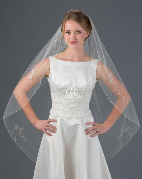 bridal veil with silver applique