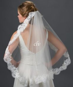 waist length lace edge veil