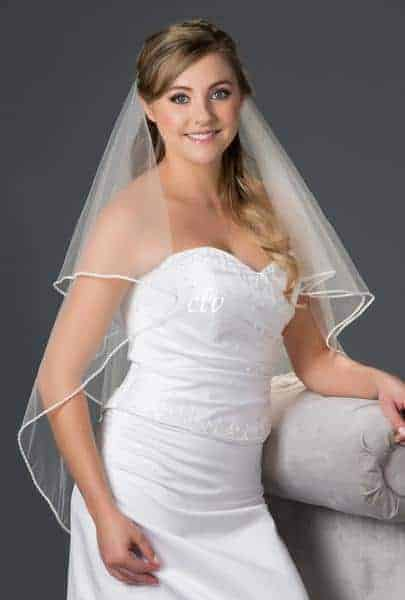 circular cut wedding veil with pearl and rhinestone edge