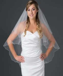 fingertip length veil with bugle bead edge