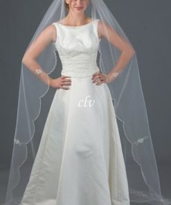 chapel length wedding veil with bugle beads scalloped edge