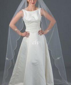 chapel length wedding veil with bugle beads scalloped edge