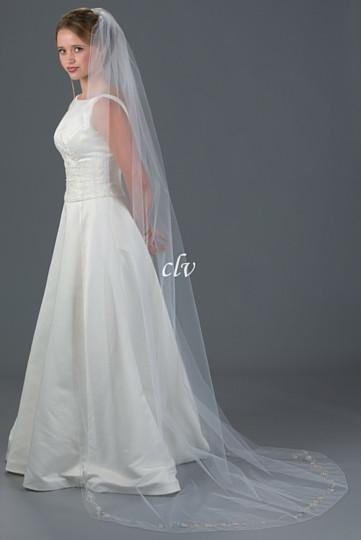 chapel length veil with silver applique