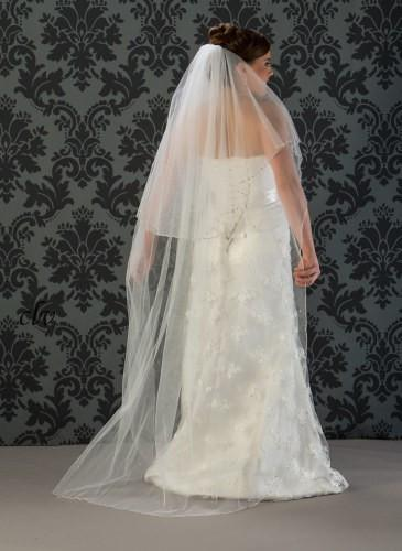 floor length veil with accents