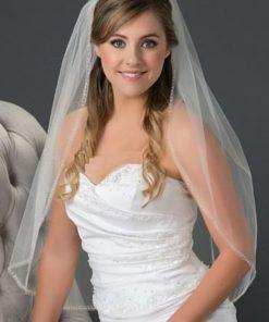 waist length veil with bugle bead edge