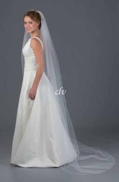 chapel length veil with rhinestones and crystal accents