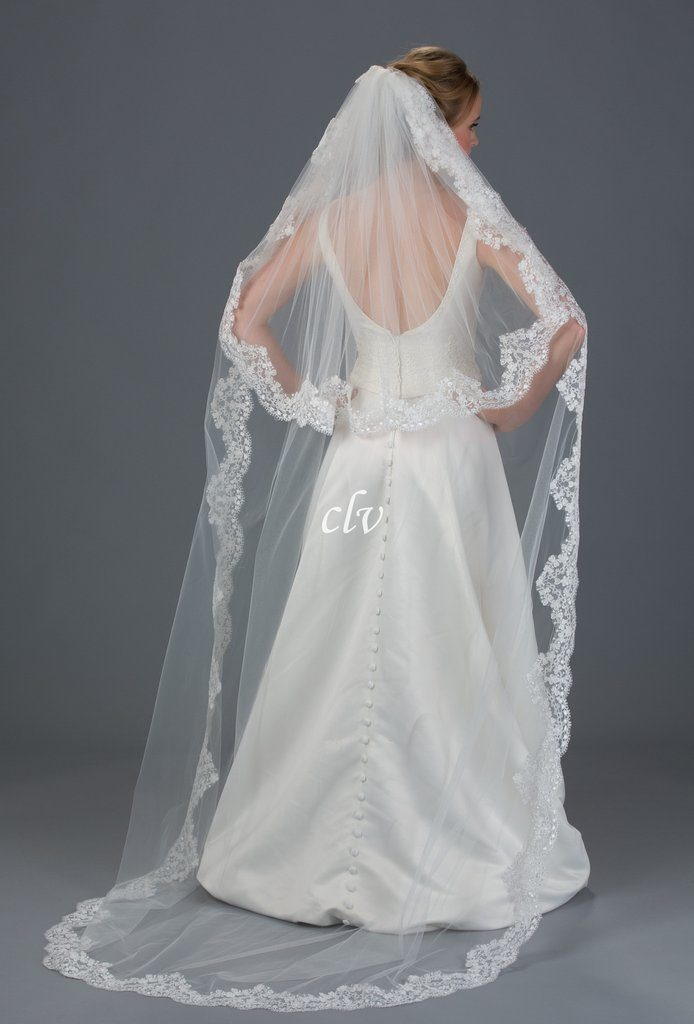 2 tier chapel length bridal veil with lace edge